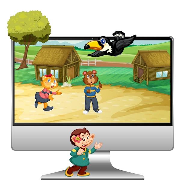Simpatico animale sul computer Vettore Premium