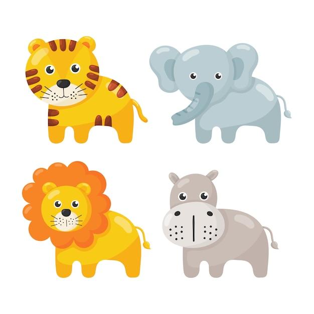 Set di icone animali carino isolato su bianco. Vettore Premium