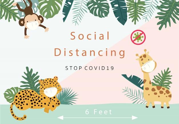 Collezione di ditancing sociale animale carino con leopardo, giraffa, scimmia indossa maschera.illustrazione di vettore per prevenire la diffusione di batteri, coronvirus Vettore Premium
