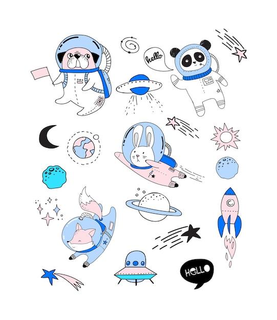 Simpatici animali astronauti in caschi - perfetti per i disegni di camerette, camerette, tessuti, confezioni Vettore Premium