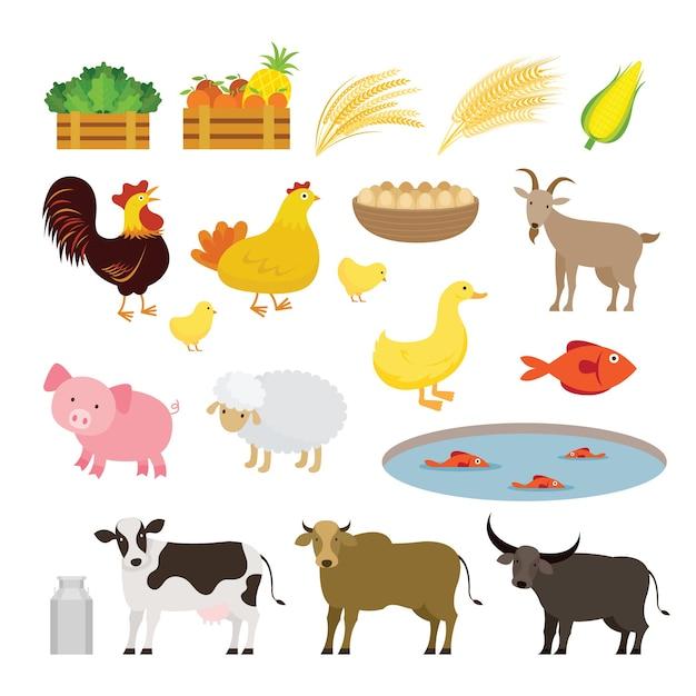 Insieme sveglio del fumetto della fattoria degli animali Vettore Premium