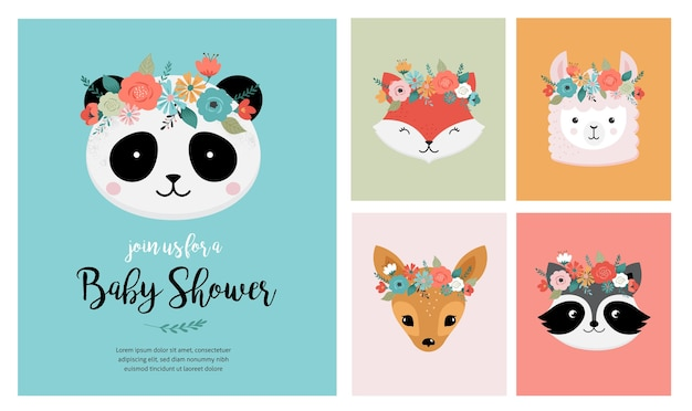 Teste di simpatici animali con corona di fiori, illustrazioni vettoriali per biglietti di auguri di design vivaio. panda, lama, volpe, koala, gatto, cane, procione e coniglio Vettore Premium