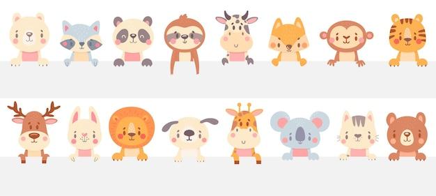 Simpatici animali guardano fuori. animale divertente fa capolino, animale domestico disegnato a mano, adorabile gatto e cane. Vettore Premium