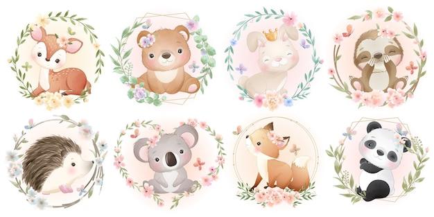 Simpatici animali con collezione floreale Vettore Premium