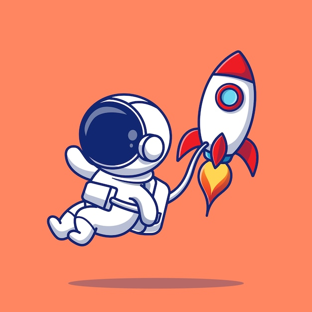Illustrazione sveglia dell'icona di flying with rocket cartoon dell'astronauta. premio isolato concetto dell'icona di scienza della gente. stile cartone animato piatto Vettore Premium