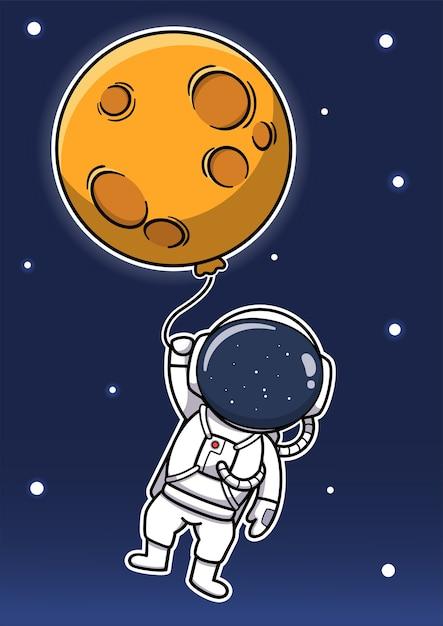Simpatico astronauta che tiene il palloncino lunare Vettore Premium