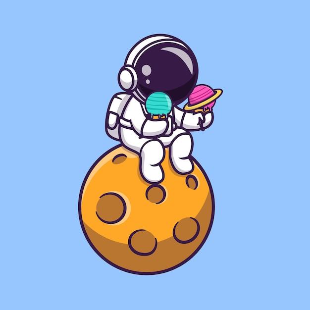 Astronauta sveglio che tiene il gelato del pianeta sull'illustrazione di vettore del fumetto del pianeta. Vettore Premium