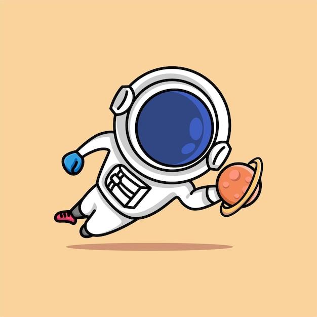 Il portiere di calcio di salto dell'astronauta sveglio cattura il fumetto del pianeta Vettore Premium