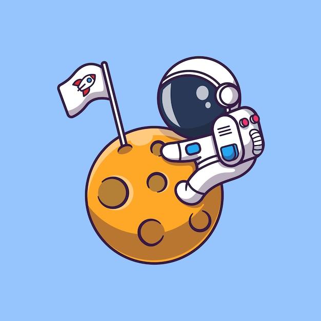 Illustrazione sveglia dell'icona di on moon dell'astronauta. personaggio dei cartoni animati di astronauta mascotte. concetto dell'icona di scienza isolato Vettore Premium