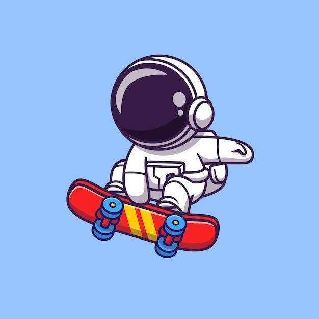 Carino astronauta giocando a skateboard cartoon icona vettore illustrazione. icona di sport spaziale Vettore Premium