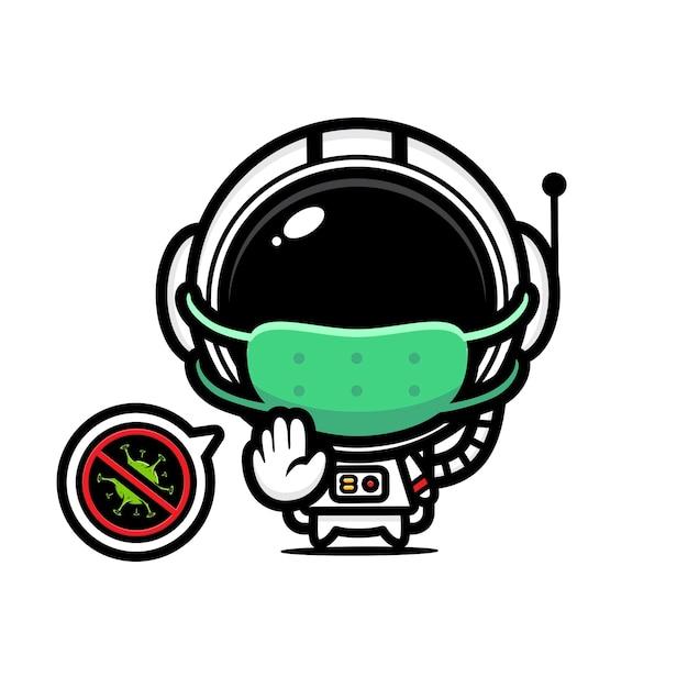 Simpatico astronauta che indossa una maschera con posa del virus di arresto Vettore Premium