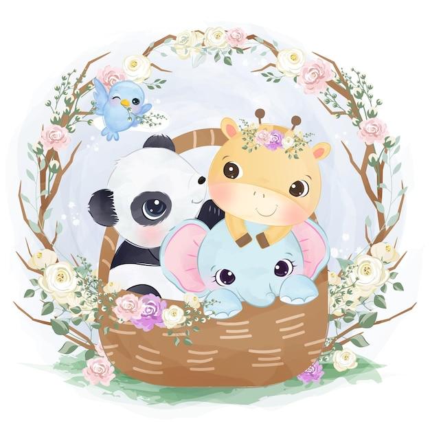 Illustrazione sveglia degli animali del bambino che giocano insieme Vettore Premium