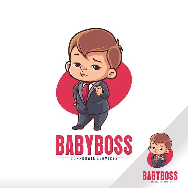 Cute baby boss child cartoon Vettore Premium