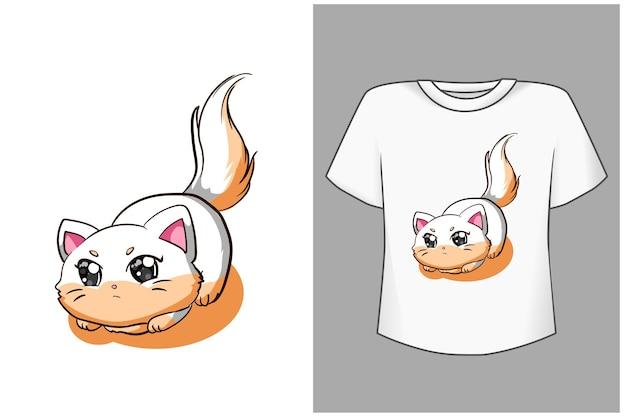 Cute baby cat cartoon illustrazione Vettore Premium