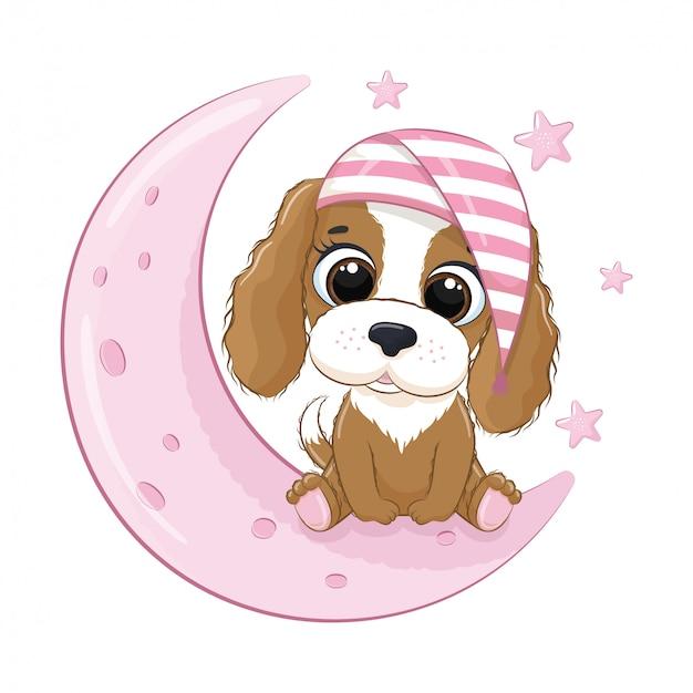 Cane carino bambino seduto sulla luna. illustrazione vettoriale per baby shower, cartolina d'auguri, invito a una festa, stampa t-shirt vestiti moda. Vettore Premium