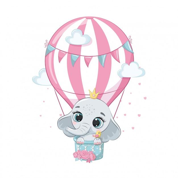 Elefante sveglio del bambino su una mongolfiera. Vettore Premium