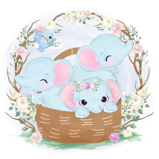 Illustrazione sveglia dell'elefante del bambino che giocano insieme Vettore Premium