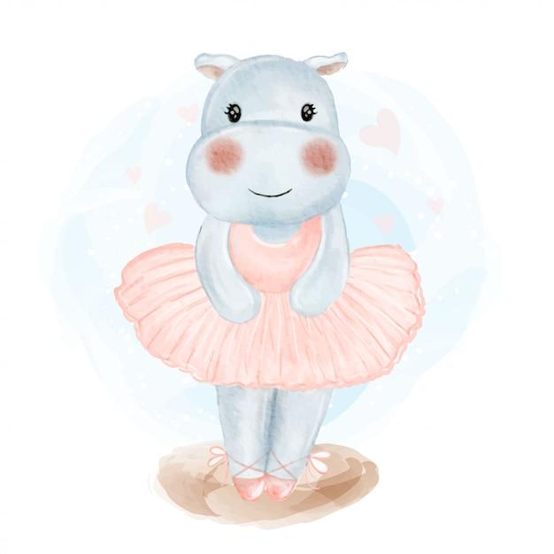 Illustrazione sveglia dell'acquerello della ballerina dell'ippopotamo del bambino Vettore Premium