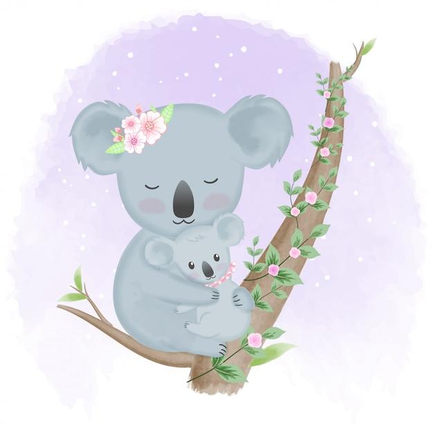 Koala e madre sveglie del bambino sull'albero Vettore Premium