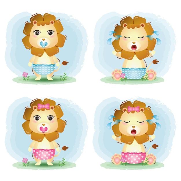 Simpatica collezione di leoni in stile bambini Vettore Premium