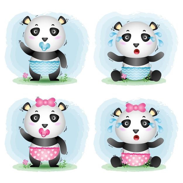 Simpatica collezione di baby panda in stile bambini Vettore Premium
