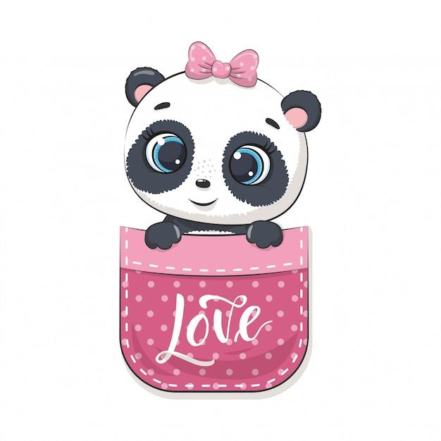 Carino baby panda in tasca. illustrazione per baby shower, cartolina d'auguri, invito a una festa, stampa t-shirt abiti moda. Vettore Premium