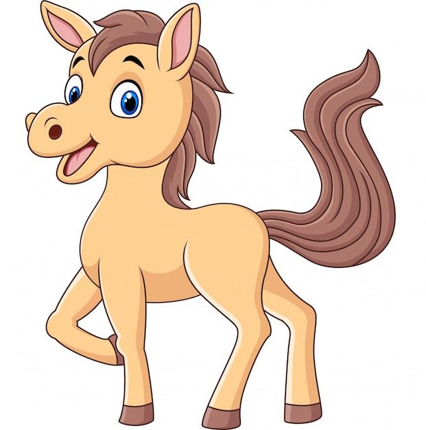 Simpatico cartone animato pony baby Vettore Premium