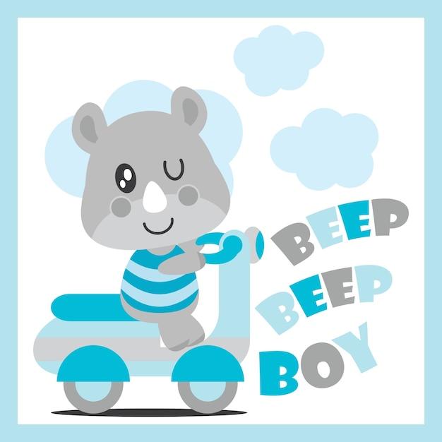 L'animale sveglio del bambino rinfresca l'illustrazione del fumetto di vettore del motociclo per il disegno della scheda dell'acquazzone del bambino, la maglietta del capretto e la carta da parati Vettore Premium