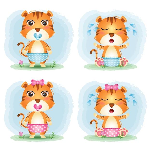 Simpatica collezione di tigri in stile bambini Vettore Premium