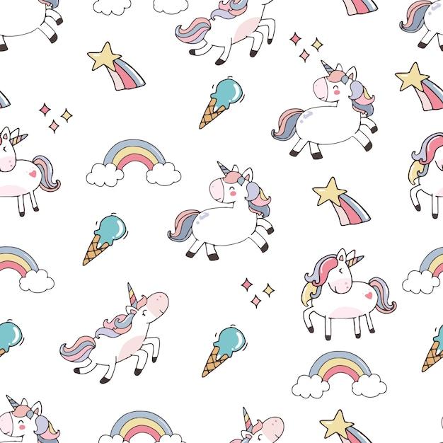 Sfondo carino con unicorno Vettore Premium