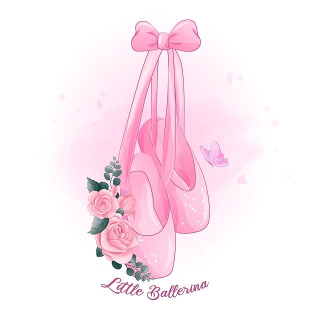 Carine ballerine con illustrazione di rose Vettore Premium