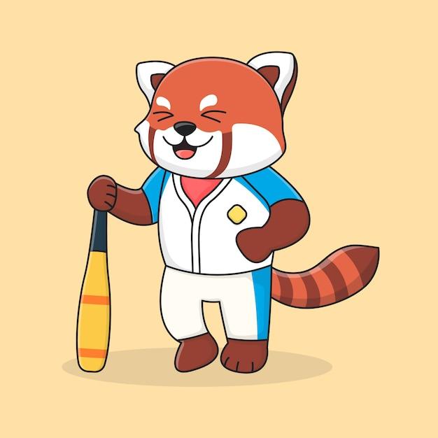 Bastone sveglio della tenuta del panda minore di baseball Vettore Premium