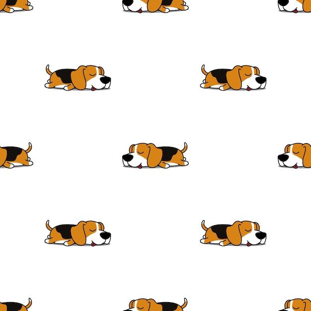 Modello senza cuciture di sonno cane carino beagle Vettore Premium