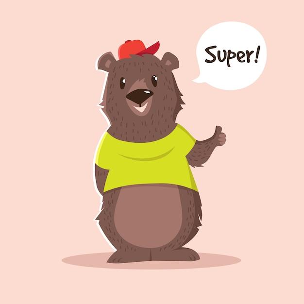 Simpatico personaggio dei cartoni animati orso Vettore Premium