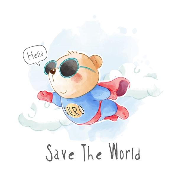 Orso sveglio che vola nell'illustrazione uniforme del supereroe Vettore Premium