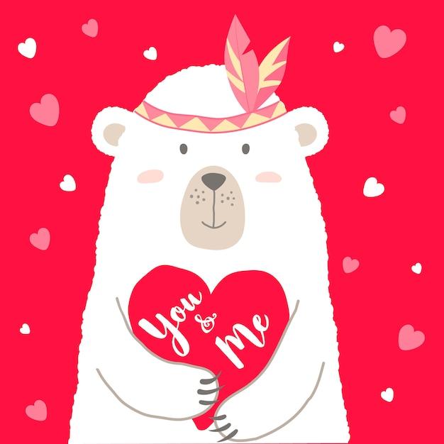 Simpatico orso con cuore e scritte a mano scritte con te e me. Vettore Premium