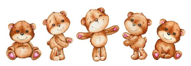 Orsi carini, in stile cartone animato, su uno sfondo isolato. animali dell'acquerello, per inviti per le vacanze e cartoline. Vettore Premium