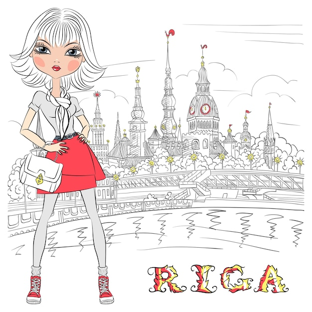 Ragazza carina bella moda nel centro storico, riga, lettonia Vettore Premium