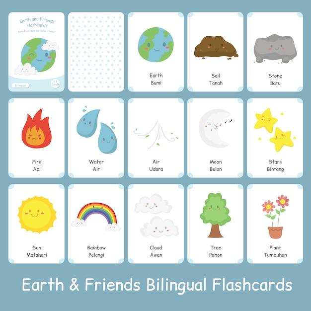 Set di simpatici flashcard terra e amici bilingue Vettore Premium