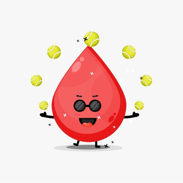 Mascotte di sangue carino giocando a palla da tennis Vettore Premium
