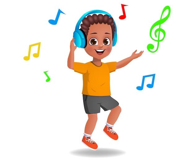 Ragazzo carino ragazzo che ascolta la musica Vettore Premium