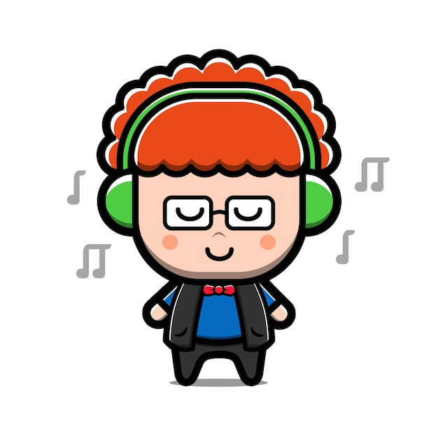 Ragazzo carino ascolta musica personaggio dei cartoni animati Vettore Premium