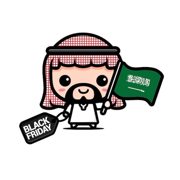 Ragazzo carino con bandiera arabia saudita e buono sconto venerdì nero Vettore Premium