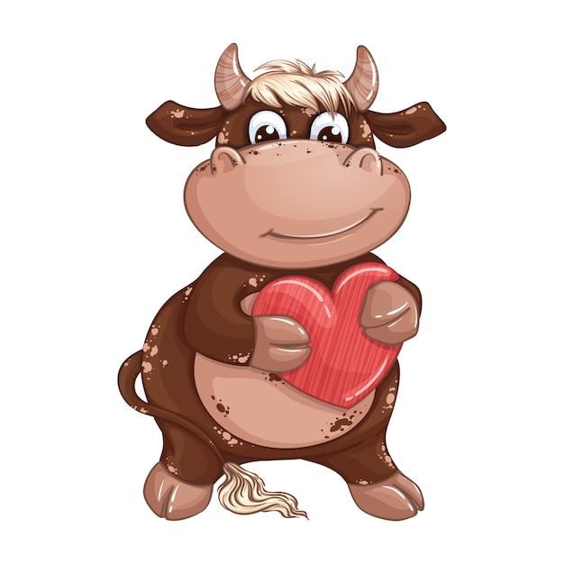 Un toro marrone sveglio del ragazzo con i capelli biondi che tiene un cuore rosso. san valentino. Vettore Premium