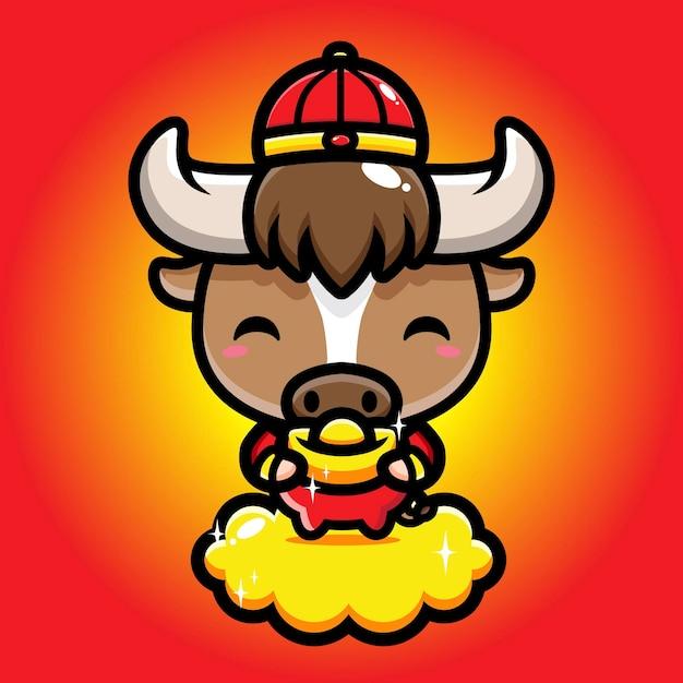 Bufalo carino con in mano un pezzo d'oro Vettore Premium