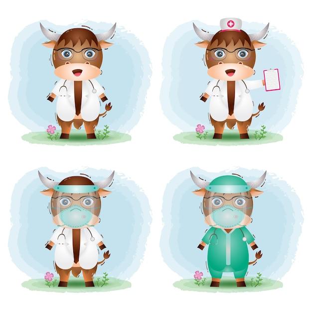 Simpatico bufalo con collezione di costumi da medico e infermiera del personale medico Vettore Premium