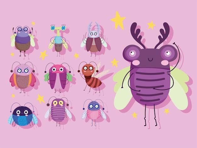 Natura animale degli insetti svegli degli insetti nell'illustrazione delle icone di stile del fumetto Vettore Premium