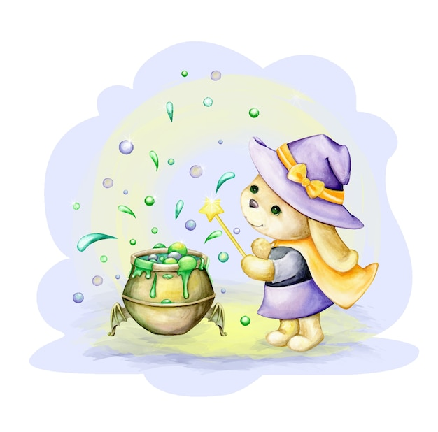 Simpatico coniglietto, vestito da strega, si trova vicino al vaso della pozione. clipart ad acquerello, in stile cartone animato, per le vacanze di halloween. Vettore Premium