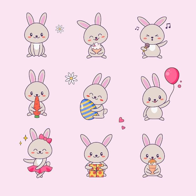 Simpatico coniglietto kawaii personaggio adesivo impostato. coniglio con anime face vari emoji drawing per doodle. Vettore Premium