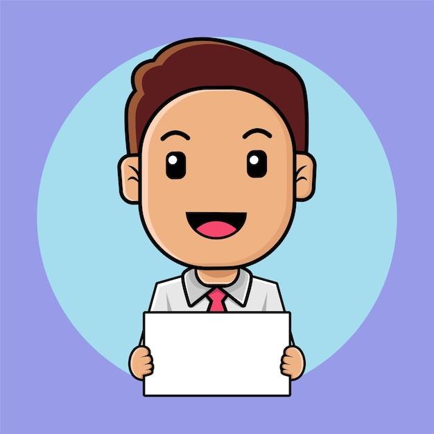 L'uomo d'affari sveglio tiene un'illustrazione del fumetto del bordo bianco Vettore Premium